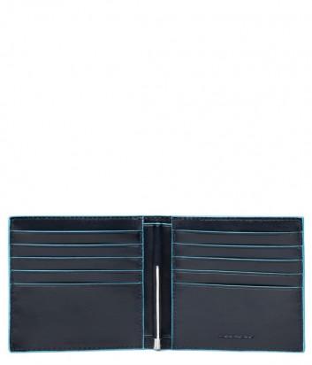 Кожаное портмоне Piquadro Blue Square PU1666B2 с зажимом для купюр черное
