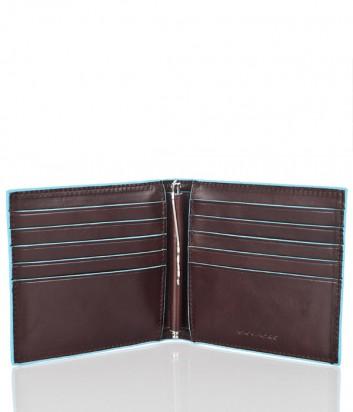 Кожаное портмоне Piquadro Blue Square PU1666B2 с зажимом для купюр коричневое