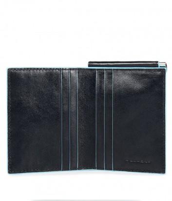 Кожаное портмоне Piquadro Blue Square PU3890B2 с зажимом для купюр черное
