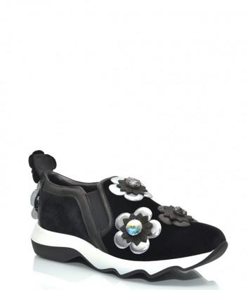 Велюровые кроссовки H'oro Nero 626 с декором черные