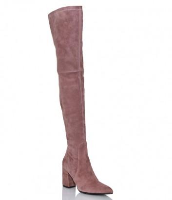 Замшевые ботфорты на каблуке Hestia Venezia 9681 розовые