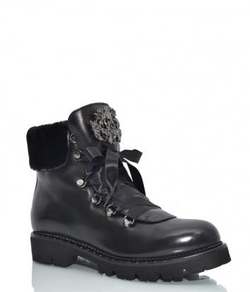 Кожаные ботинки Hestia 9636 с декором черные
