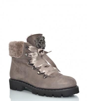 Замшевые ботинки Hestia 9636 с декором серые