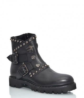 Кожаные ботинки Hestia 9646 с декором черные