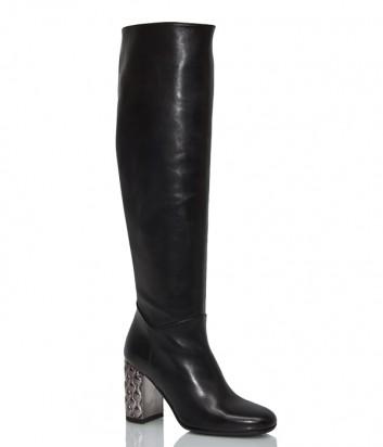 Кожаные сапоги Hestia Venezia 9691 с декорированным каблуком черные