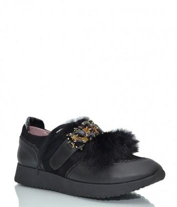 Кожаные кроссовки Helena Soretti 3034 с замшевыми вставками черные