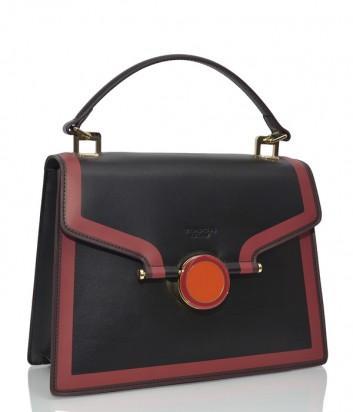 Кожаная сумка Tosca Blu 161 черная с красным кантом и ярким плечевым ремнем