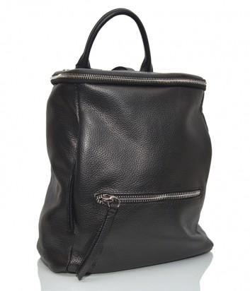 Большой кожаный рюкзак Tosca Blu 371 с внешним карманом черный