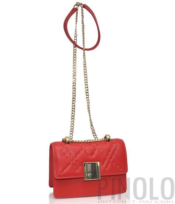 7b8a7493b203 Кожаная сумка Tosca Blu 221 на цепочке красная - купить в Интернет ...