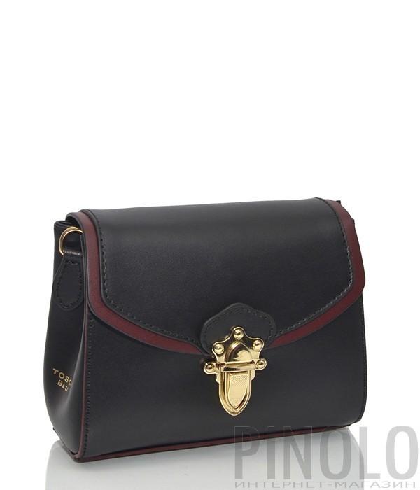 08536cfc111a Кожаная сумка через плечо Tosca Blu 213 черная с бордовым кантом ...