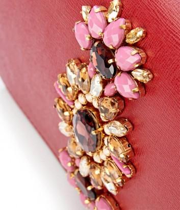 Кожаная сумка Gianni Chiarini 6315 декорированная кристаллами красная