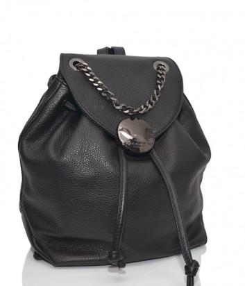 Кожаный рюкзак Tosca Blu 132 с ручкой цепочкой черный
