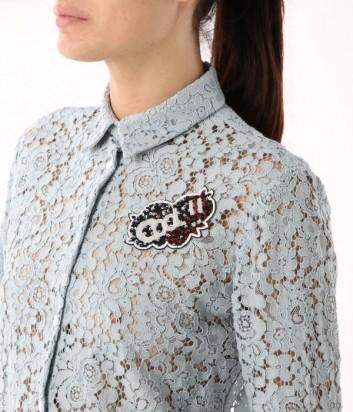 Блуза с длинным рукавом ICEBERG из цветочного кружева серая