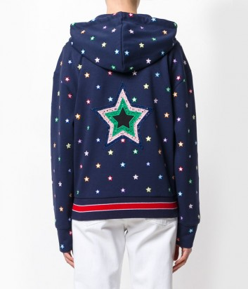 Толстовка на молнии с капюшоном ICEBERG синяя в звездный принт