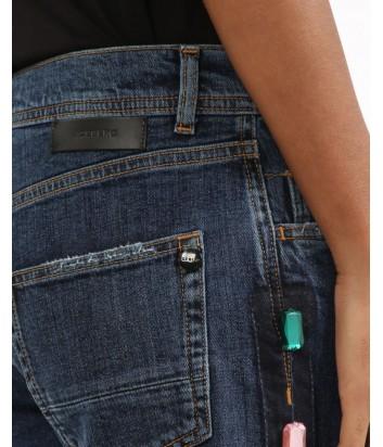 Укороченные джинсы ICEBERG с нашитыми кристаллами