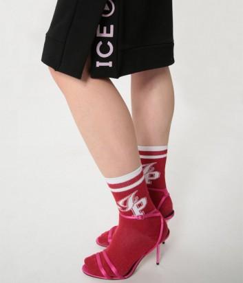 Черная юбка ICE PLAY с разрезами по бокам и логотипом
