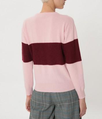 Розовый свитер ICE PLAY с контрастной бордовой полоской