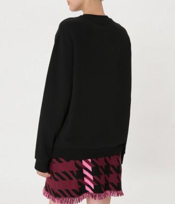 Черный свитшот ICE PLAY с нежно-розовым логотипом