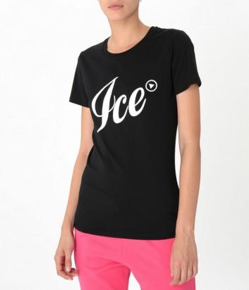 Черная хлопковая футболка ICE PLAY с макси-логотипом