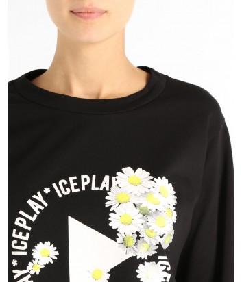 Черный женский свитшот ICE PLAY с логотипом и ромашками
