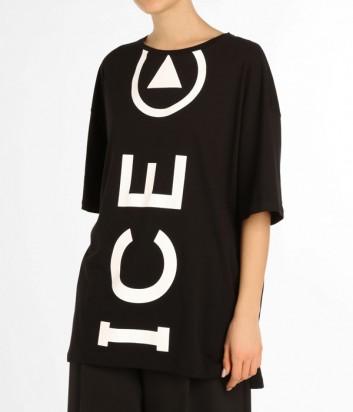 Женская футболка оверсайз ICE PLAY черная с белым макси логотипом