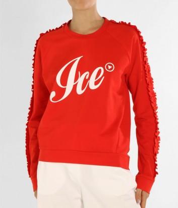 Женский свитшот ICE PLAY с логотипом и рюшами на рукавах красный
