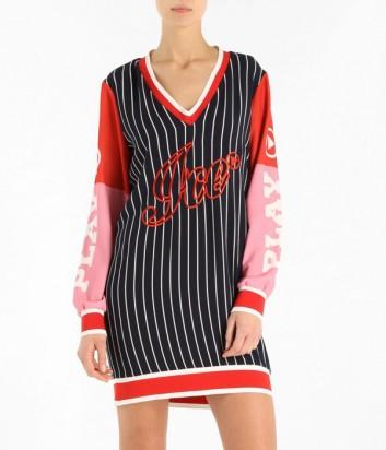 Спортивное платье ICE PLAY в полоску с цветным рукавами