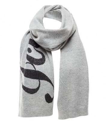 Серый шарф ICE PLAY с люрексом и логотипом