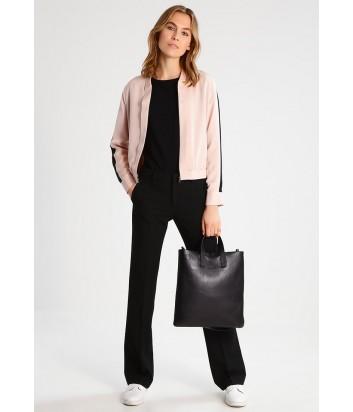 Шёлковый бомбер Karl Lagerfeld на молнии розовый с черными полосками