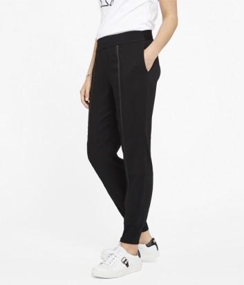 Трикотажные штаны Karl Lagerfeld с вертикальными молниями черные