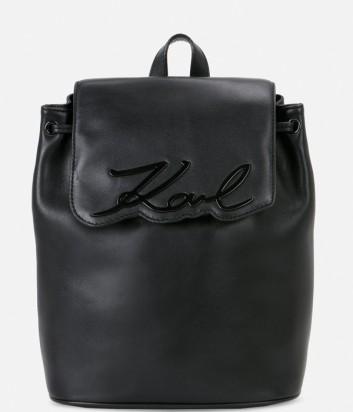 Кожаный рюкзак Karl Lagerfeld с одним отделом черный