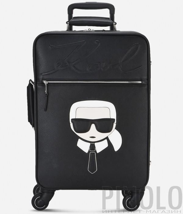 Черный чемодан на колесах Karl Lagerfeld Ikonik с яркой аппликацией
