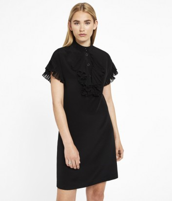 Черное платье Karl Lagerfeld с короткими рукавами и оборкой