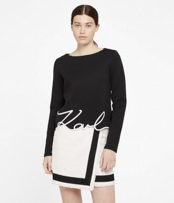 Черный свитшот Karl Lagerfeld с контрастной вышивкой по низу