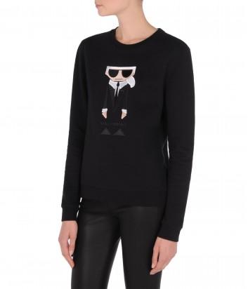 Черный свитшот Karl Lagerfeld Kocktail с яркой нашивкой