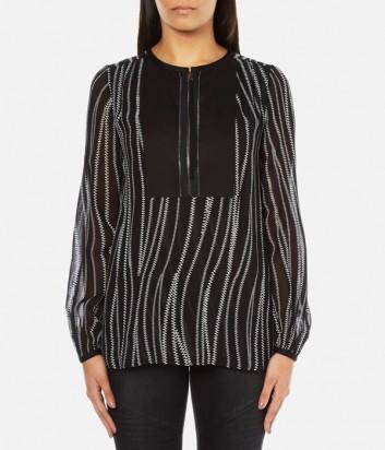 Черная блуза Karl Lagerfeld с принтом вертикальных молний