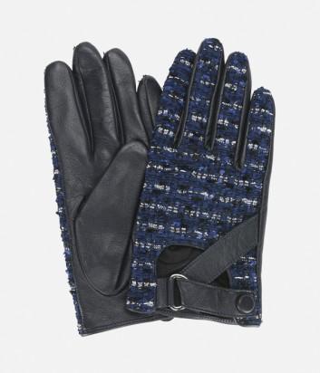 Черные кожаные перчатки Karl Lagerfeld с синими твидовыми вставками