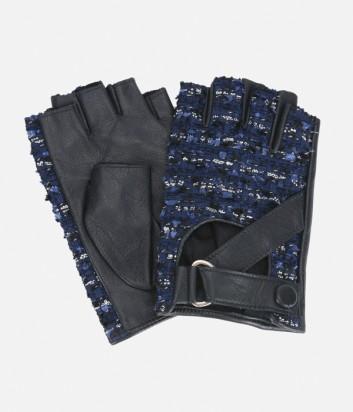 Черные кожаные митенки Karl Lagerfeld с синими твидовыми вставками