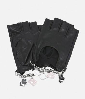 Черные кожаные митенки Karl Lagerfeld декорированные подвесками