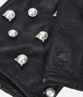 Черные кожаные митенки Karl Lagerfeld декорированные жемчужинами