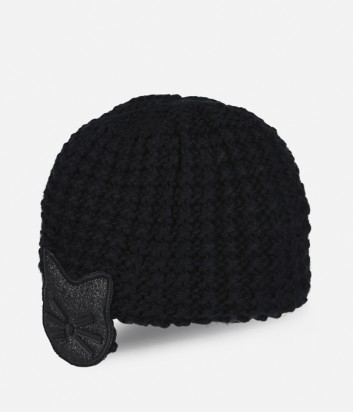 Женская шапка Karl Lagerfeld с глиттерной аппликацией черная