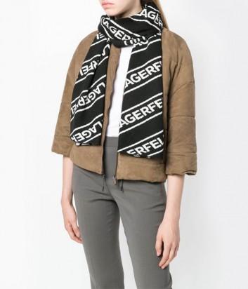 Черный шарф Karl Lagerfeld с белыми логотипами