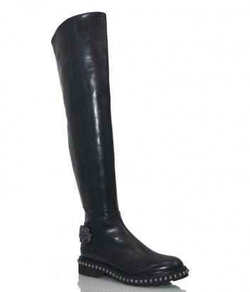 Кожаные ботфорты Hestia Venezia 9643 с брошью черные