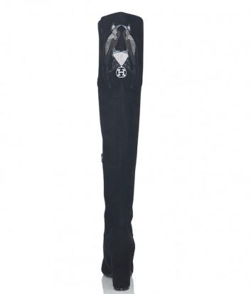 Черные замшевые ботфорты Hestia Venezia 9610 с вышивкой