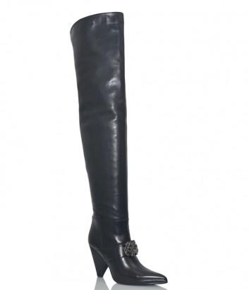 Черные кожаные ботфорты Hestia Venezia 9624 с брошью