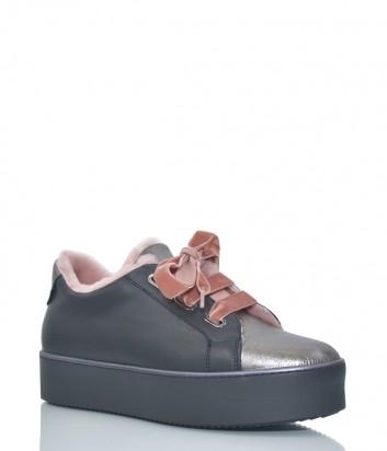 Черные кожаные кеды Tine's 7073 с бархатными розовыми шнурками