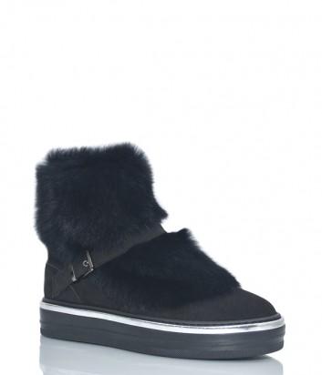 Замшевые ботинки Baldinini 1174 с мехом черные