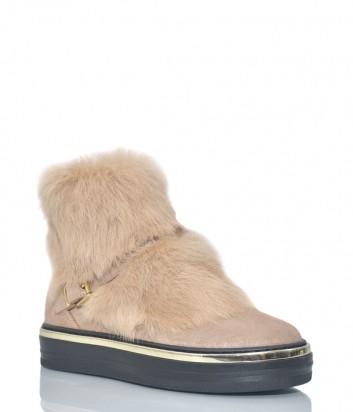 Замшевые ботинки Baldinini 1174 с мехом розовые