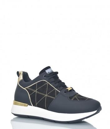 Черные кроссовки Baldinini 8949 замшевые с текстильными вставками