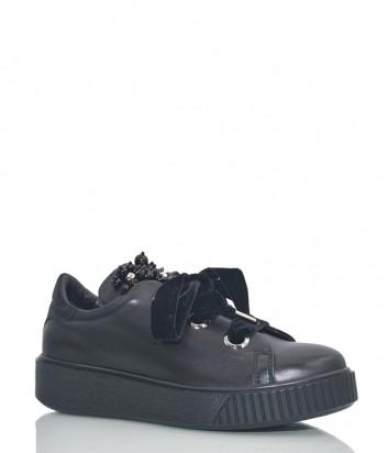 Кожаные туфли Roberto Serpentini 860 с бусинами черные